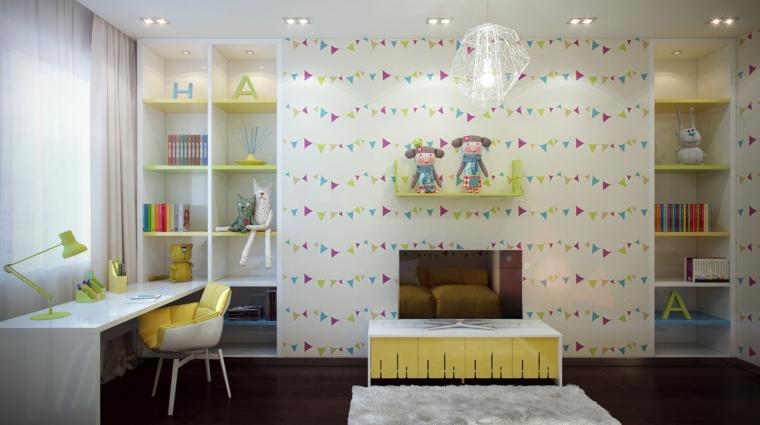 Dormitorio infantil moderno cincuenta dise os geniales - Paredes habitaciones infantiles ...