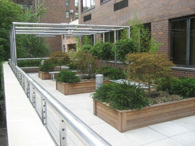 decorar terrazas jardineras madera