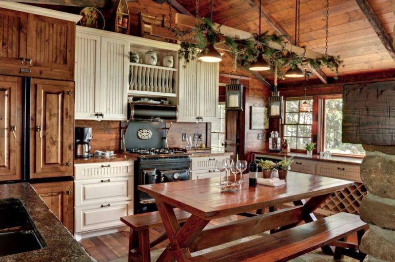decoración de cocinas rústicas muebles madera