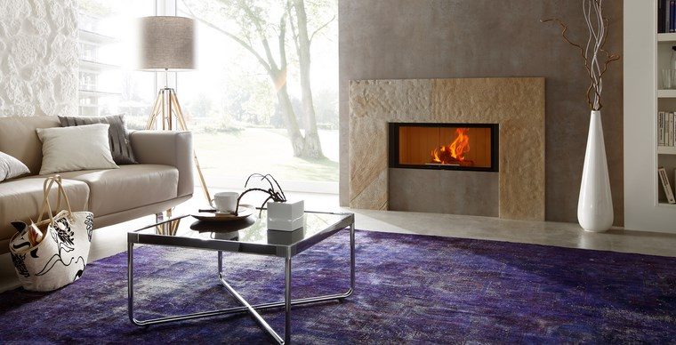 decoracion chimeneas modernas alfombra color purpura ideas