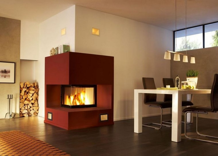 decoracion chimeneas modernas color rojo ideas