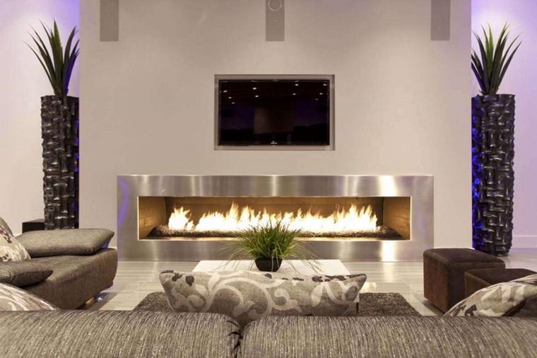 Decoracion chimeneas modernas para decorar y calentar - Decoracion chimeneas salon ...