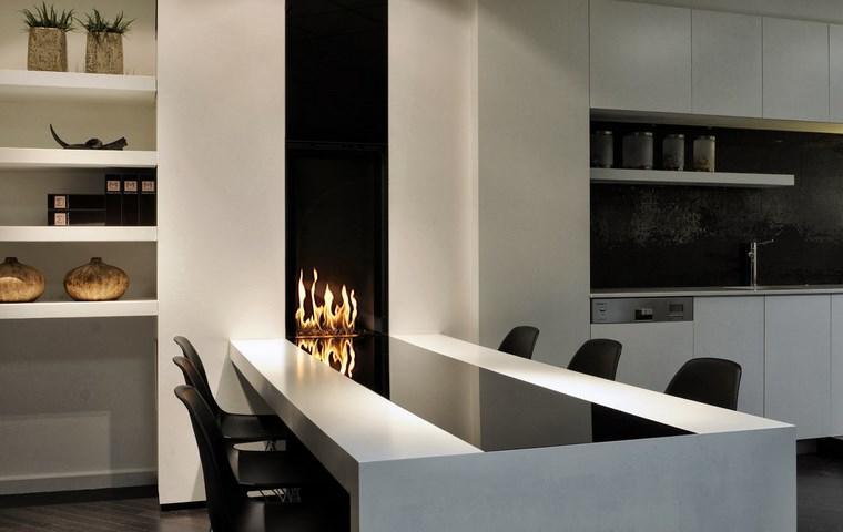 Decoracion chimeneas modernas para decorar y calentar - Comedor con chimenea ...