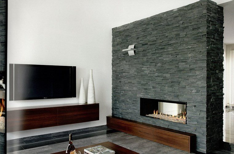 decoracion chimenea moderna original pared piedra ideas