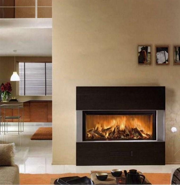 decoracion chimenea moderna pared madera ideas