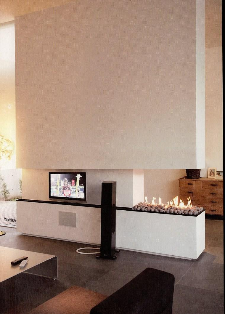 decoracion chimenea moderna pared blanca tunel ideas
