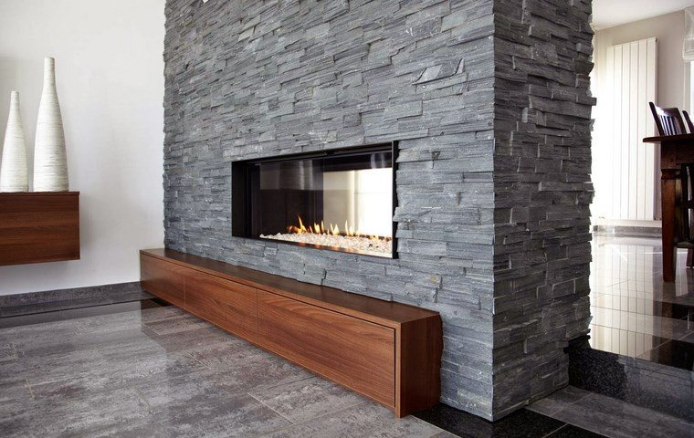 decoracion chimenea modernas piedra madera ideas