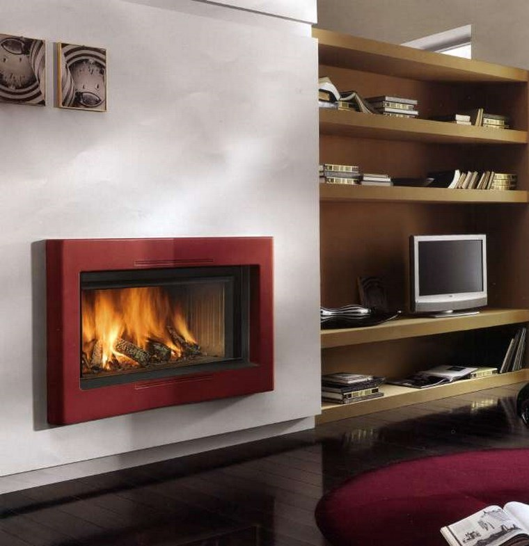 decoracion chimenea moderna roja pared ideas