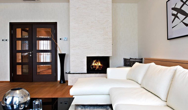 decoracion chimenea moderna salon sofa blanca ideas