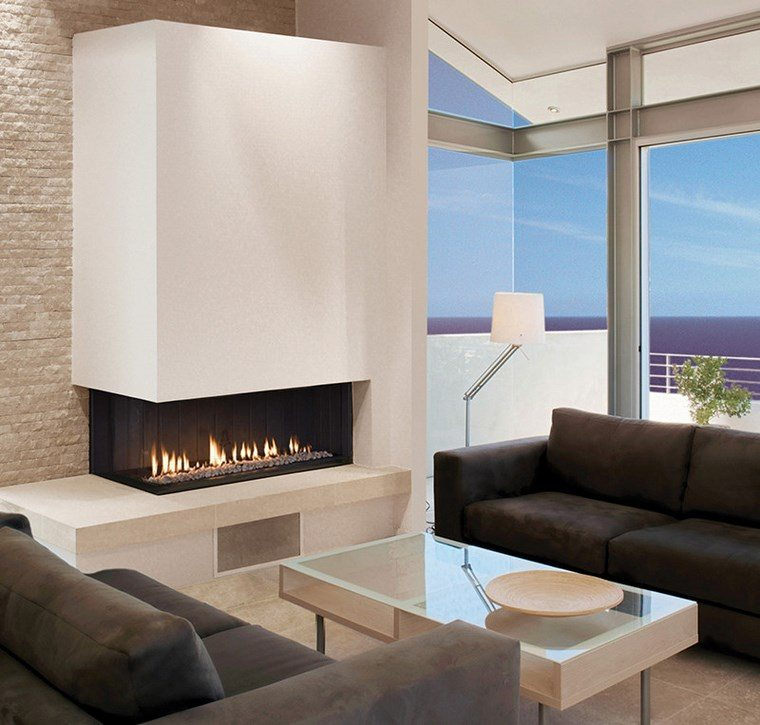 decoracion chimenea moderna sofas comodas ideas