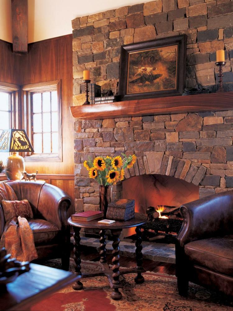 decoracion chimeneas rusticas madera velas girasoles