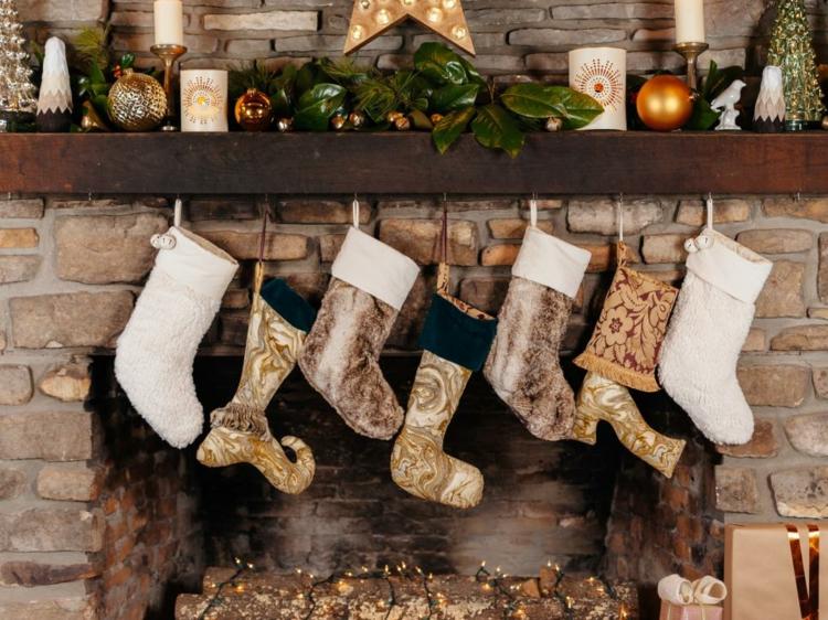 decoracion chimeneas rusticas navidad arboles bolas