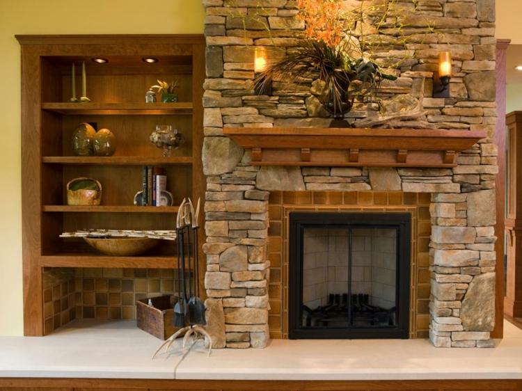 Decoracion chimeneas rusticas y calidez en 50 creaciones for Estantes para plantas exteriores
