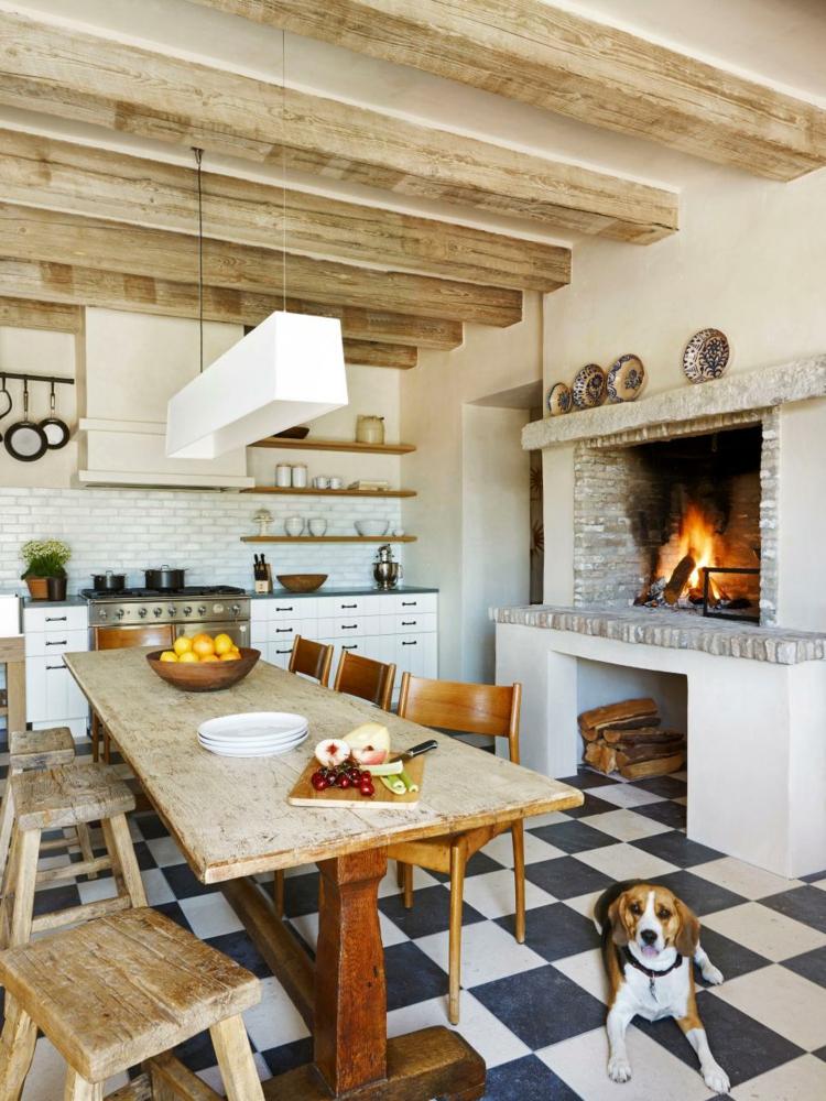 decoracion chimeneas rusticas perro comedor mesa