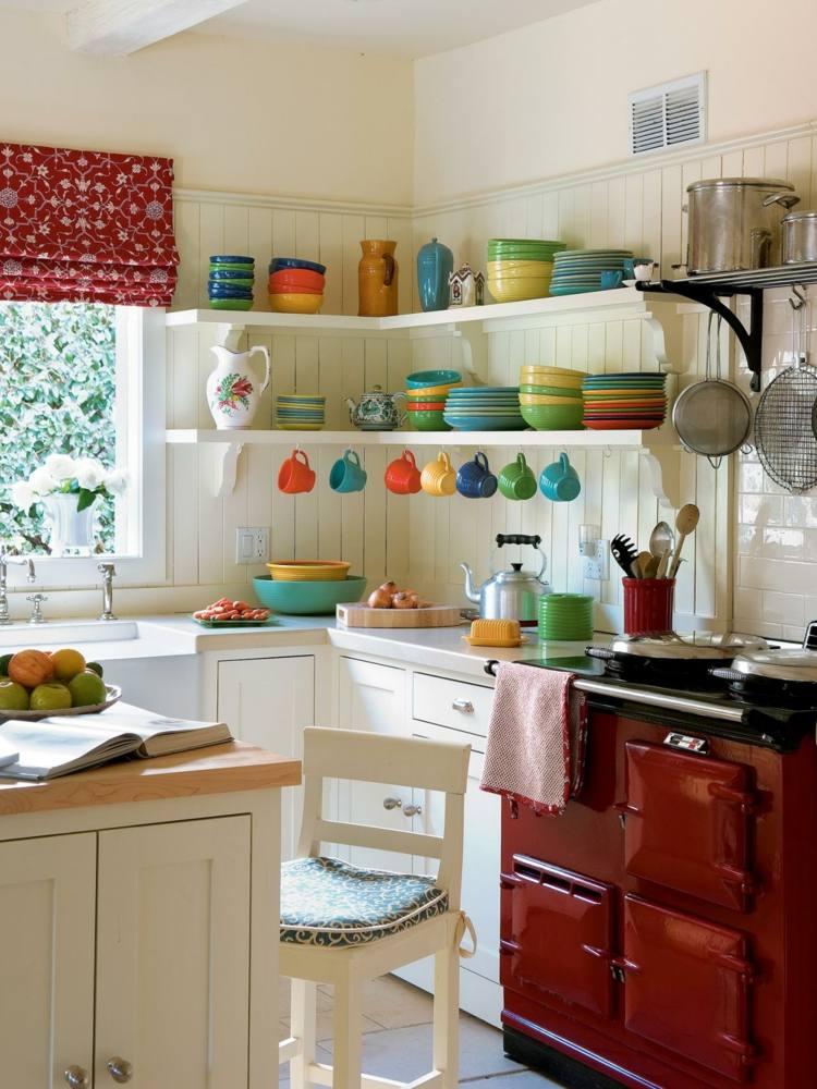 decoracion cocinas pequenas horno rojo ideas