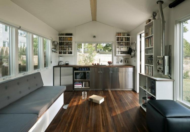 decoracion cocinas pequenas muebles acero ideas