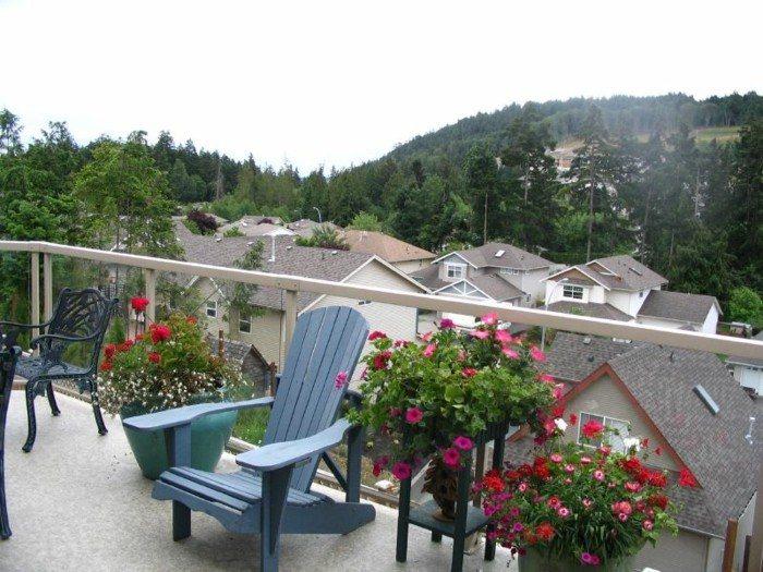 decoracion de balcones rosas flores sillones