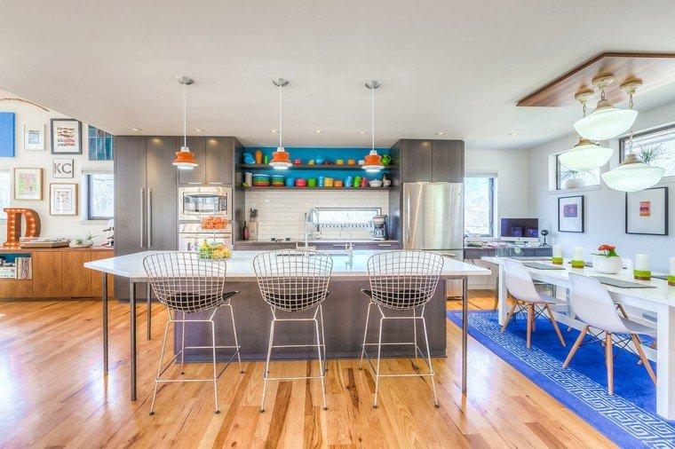 decoracion de cocinas abierta comedor toques azul ideas