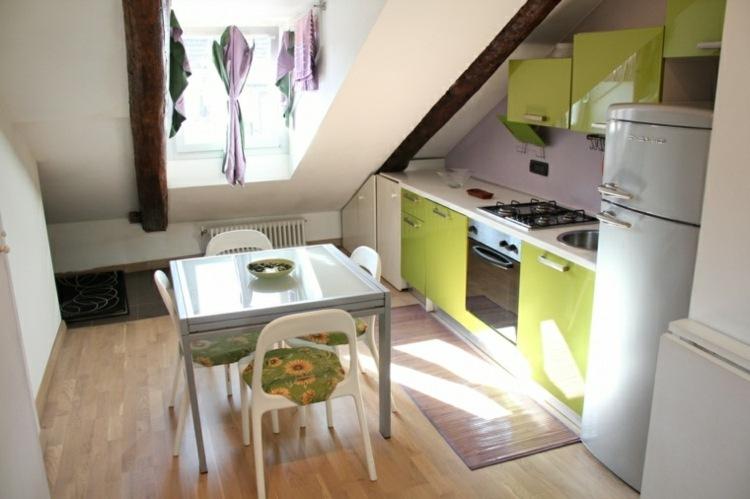 decoracion de cocinas pequeñas armarios verdes ideas