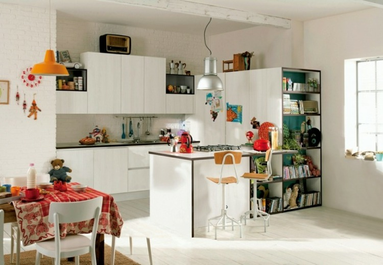 decoracion de cocinas pequeñas blanca moderna ideas