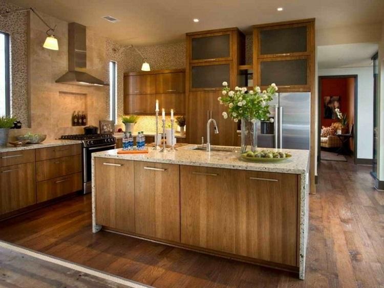 decoracion de cocinas pequeñas isla madera ideas
