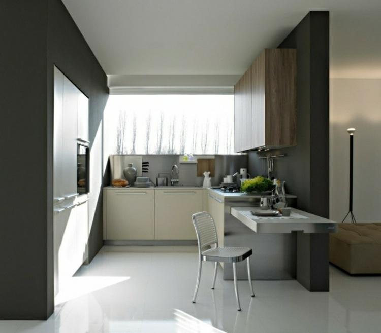decoracion de cocinas pequeñas jarrones gris ideas