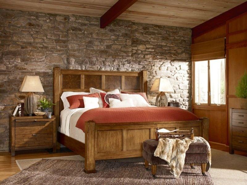 Decoracion de dormitorios rusticos madera y piedra - Decoracion pared dormitorio ...