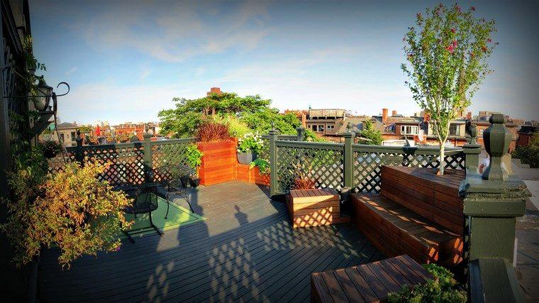 decoracion de exteriores terrazas alfombra color verde ideas