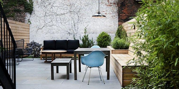 decoracion de exteriores terrazas banco madera ideas