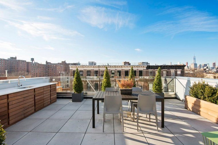 decoracion de exteriores terrazas losas mesa sillas comidas ideas