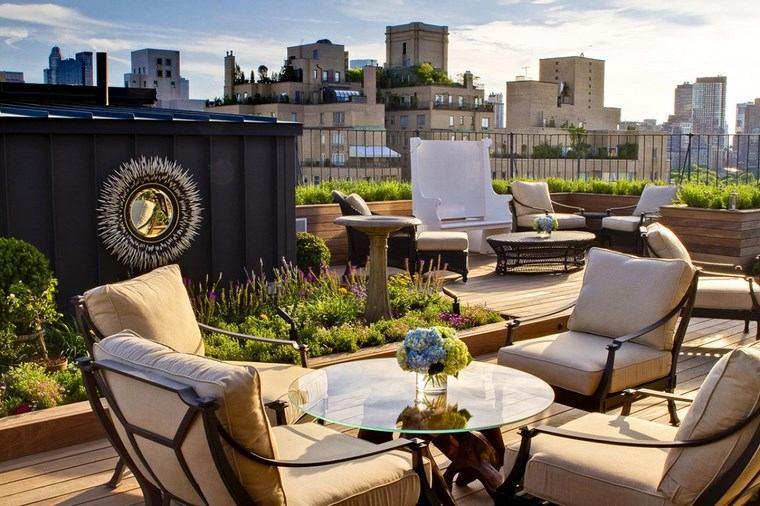decoracion de exteriores terrazas mesa cristal bonita ideas