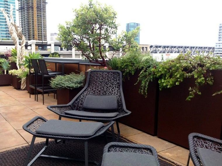 decoracion exteriores terrazas muebles negros ideas