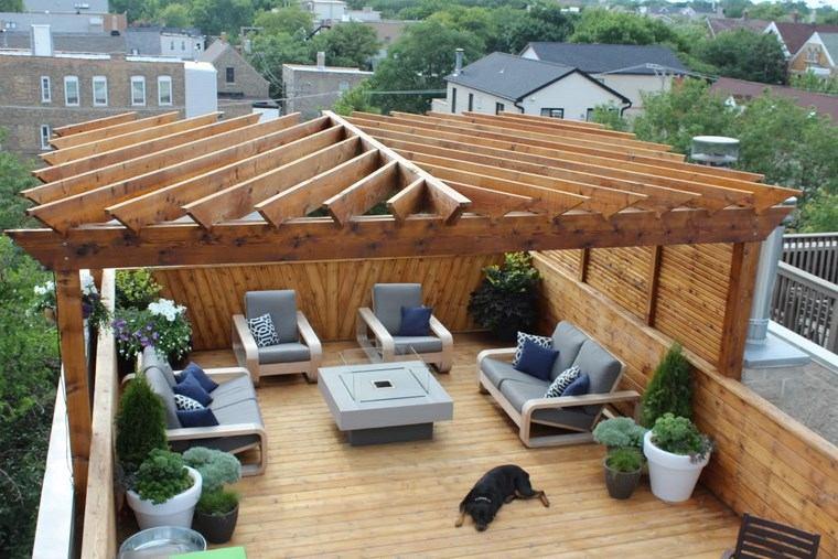 decoracion exteriores terrazas pergola madera ideas