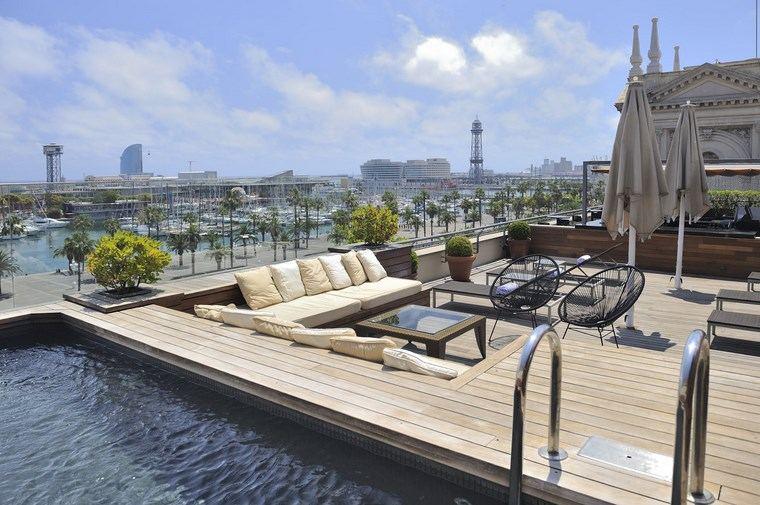 decoracion exteriores terrazas piscina pequena idea