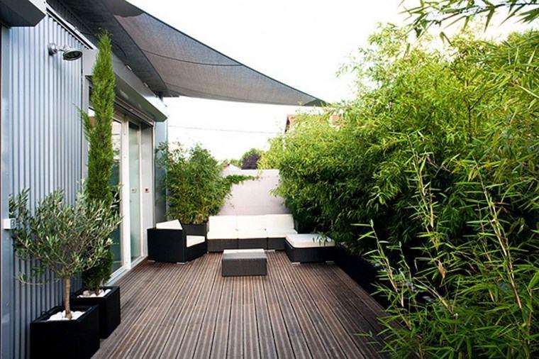 decoracion exteriores terrazas plantas altas verde natural ideas