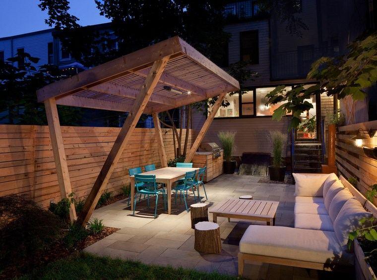 decoracion exteriores terrazas sillas azules ideas
