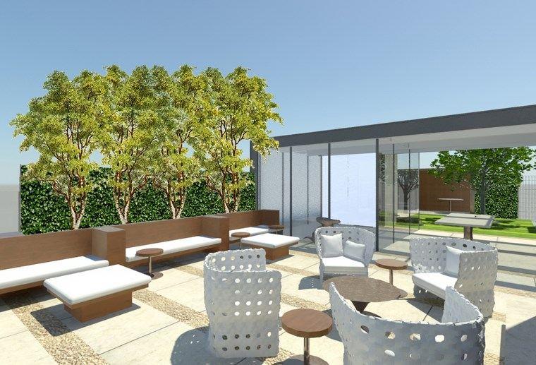decoracion exteriores terrazas sillas blancas ideas