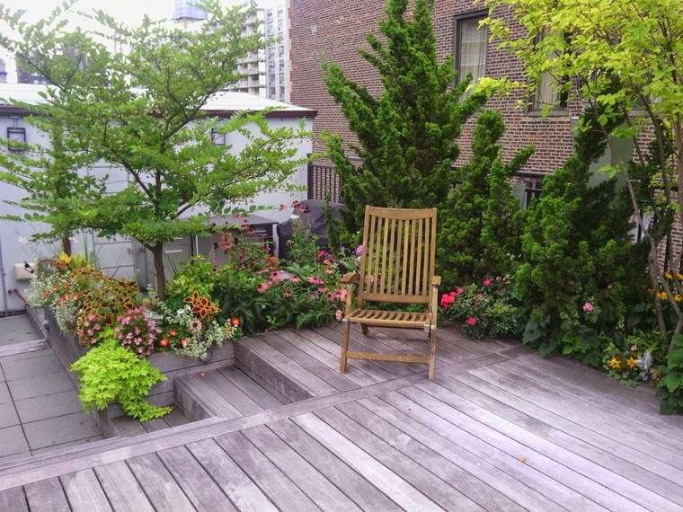 decoracion exteriores terrazas suelo madera silla ideas