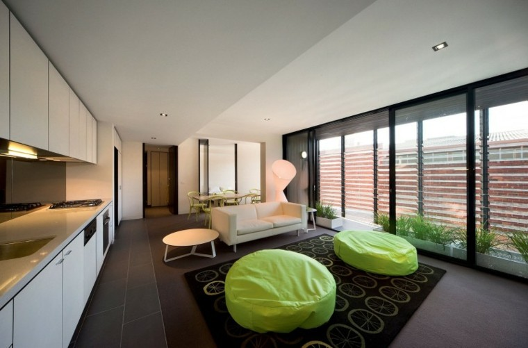 decoracion interiores salones puff verdes ideas