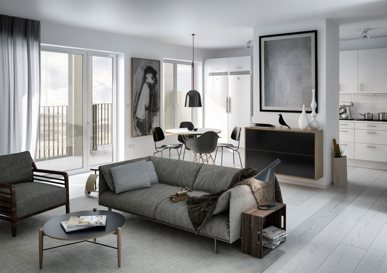 Decoracion de pisos 37 dise os de salones impresionantes for Cuadros para salones grises