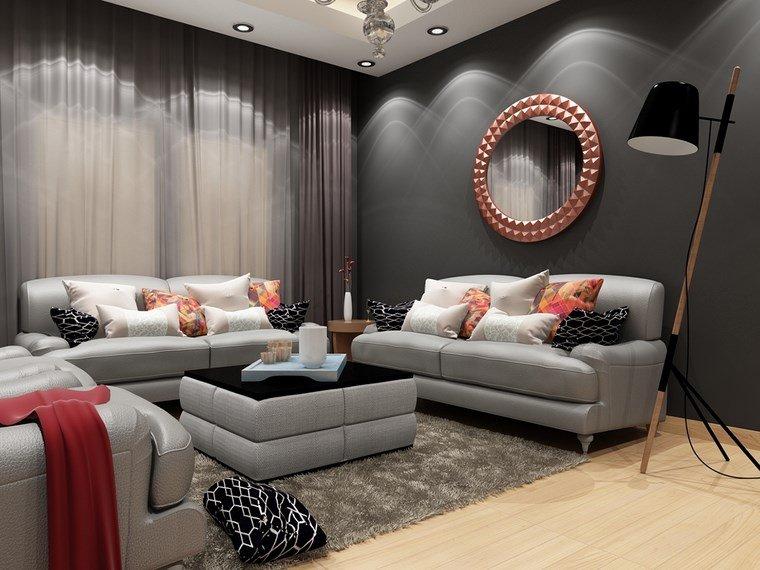 decoracion pisos salones espejo naranja ideas