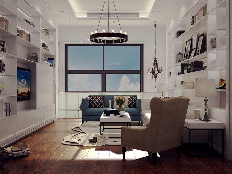 decoracion de pisos salones estanterias blancas ideas
