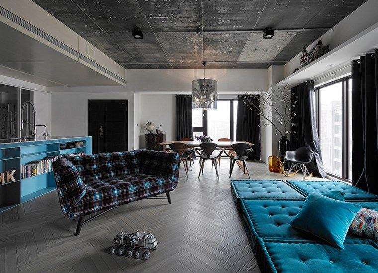 decoracion pisos salones muebles azules ideas