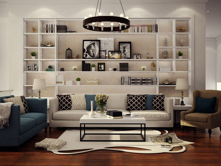 Decoracion de pisos 37 dise os de salones impresionantes - Decoracion de estanterias ...
