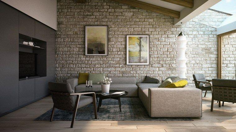 Decoracion de pisos 37 dise os de salones impresionantes - Salones decorados con piedra ...