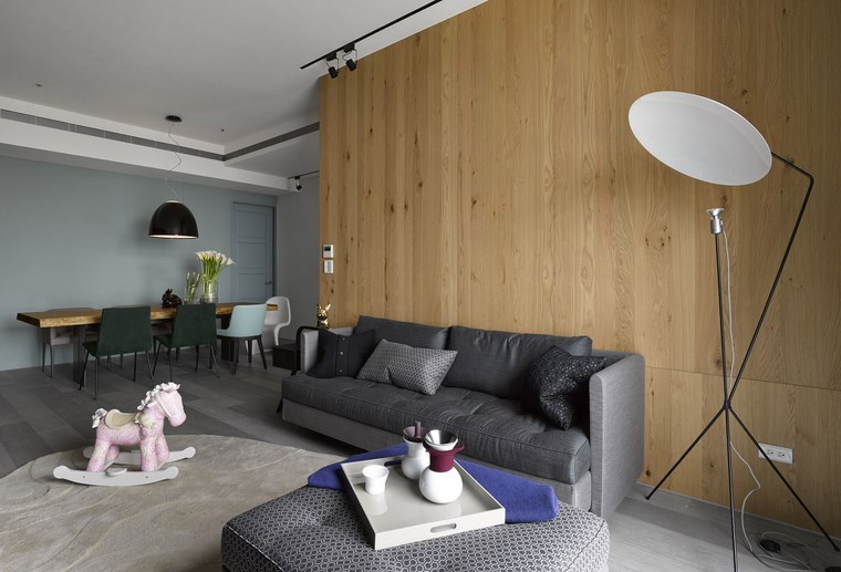 decoracion pisos salones sofa gris pared madera ideas