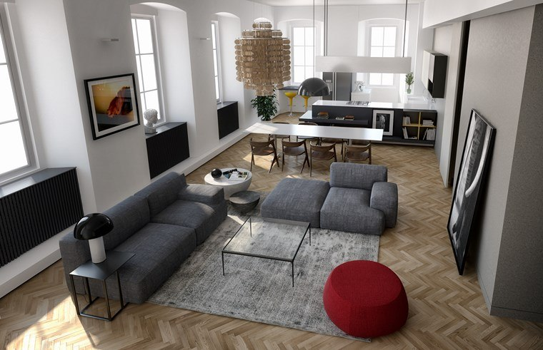 Decoracion de pisos 37 dise os de salones impresionantes for Decoracion piso rojo