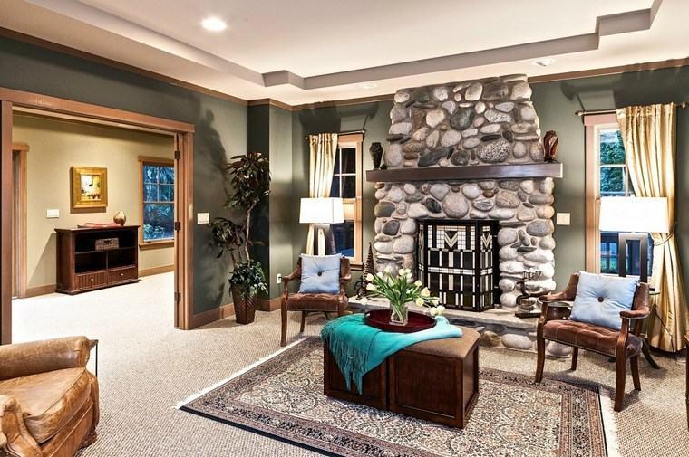 decoracion de salones modernos chimenea piedras ideas