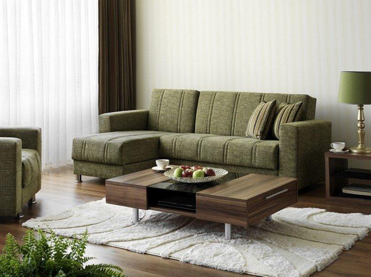 decoracion salones modernos sofa verde pequena ideas