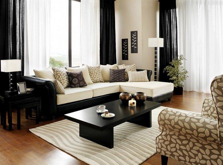Decoracion de salones modernos 57 ideas originales - Cortinas negras decoracion ...